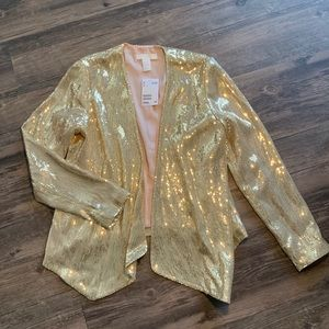 Gold Sequin Blazer Light Pink lining NEVER WORN